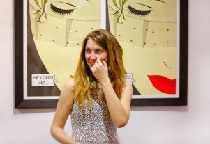 Carmela Corbett model for 'He Loves Me, He Loves Me Not'